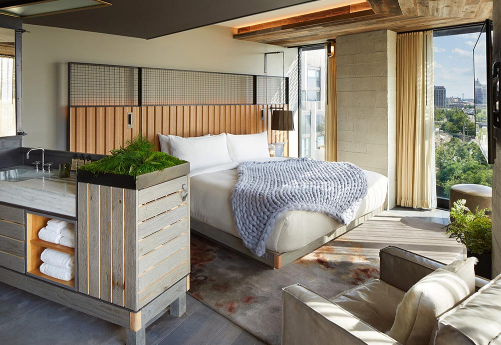 One of our design hotels is 1 Brooklyn Bridge Hotel. In the picture, one of its bedrooms.